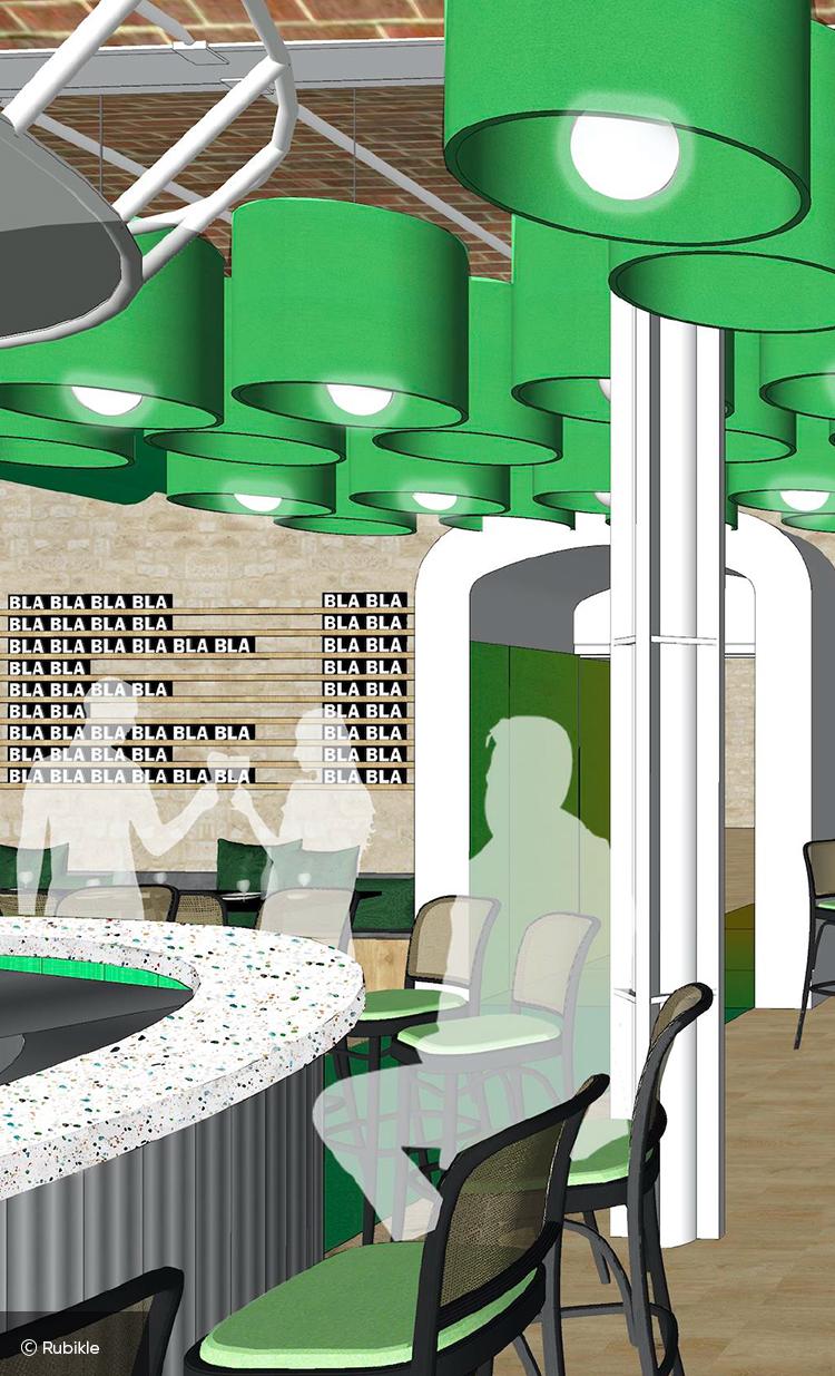 Esquisse 3d du concept store Mx à Marseille