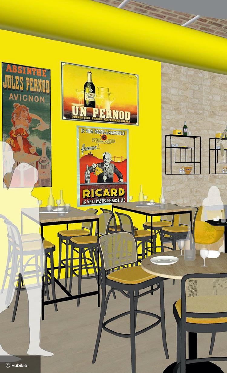 Esquisse 3d du bar Mx à Marseille